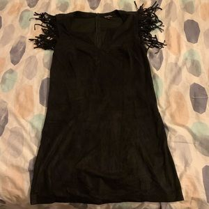 Sleeveless faux suede dress